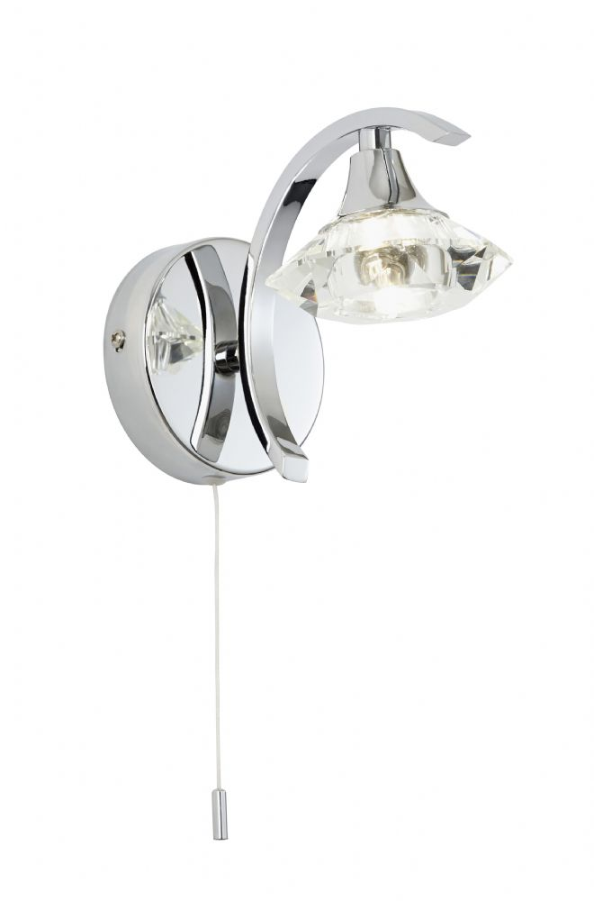 1 Light Wall Bracket In Chrome With Glass Shade LANGELLA-1WBCH